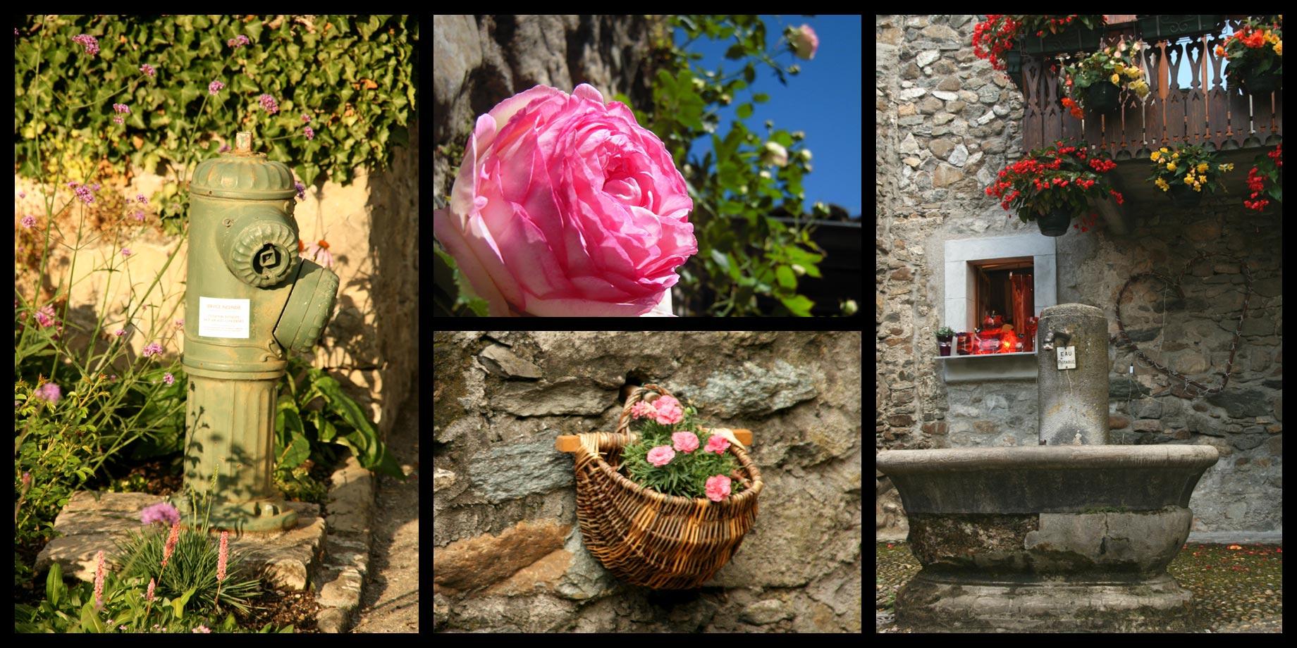 Fleurs et villes pierres sont partout présentes dans le village.