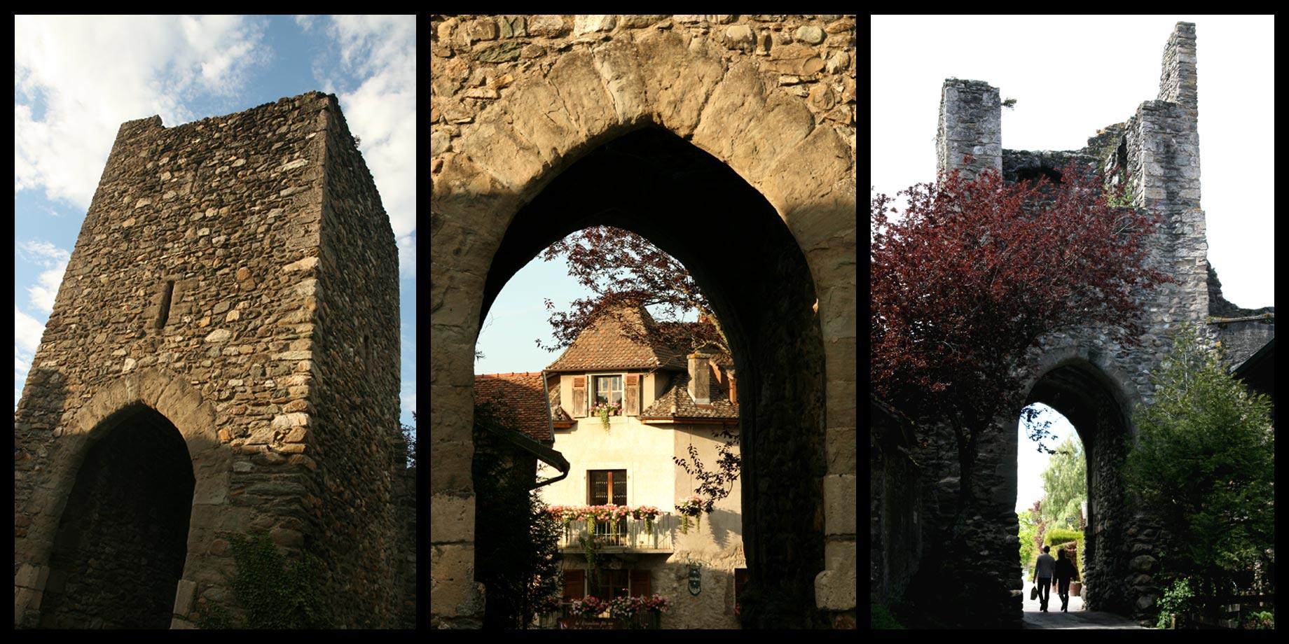 La Porte de Genève des remparts du village médiéval d'Yvoire.