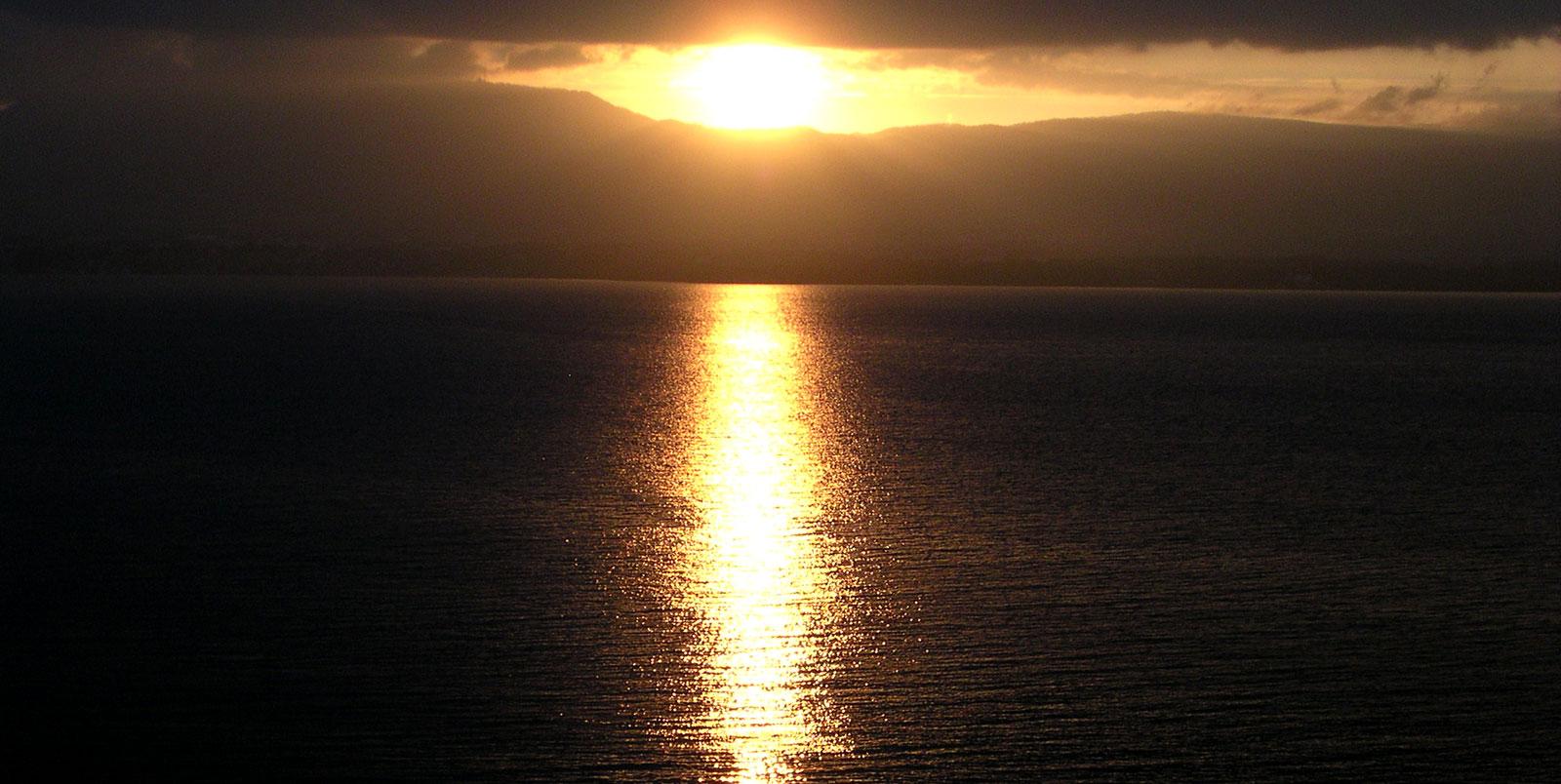 Coucher de soleil sur le Lac Léman à Yvoire.