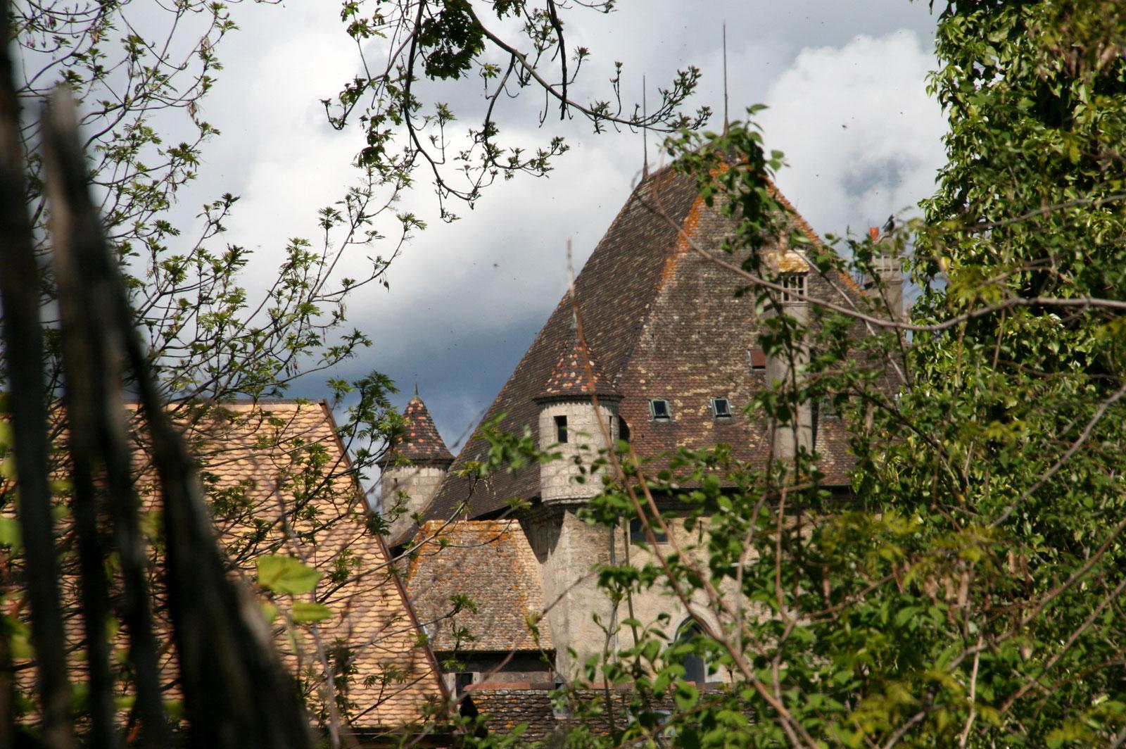 Le toit du château d'Yvoire en allant à Rovorée.